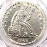 1846 SEATED LIBERTY SILVER DOLLAR $1 - PCGS AU DETAILS -  DATE COIN