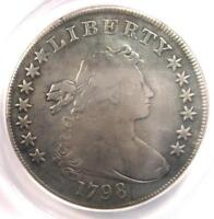 1798 DRAPED BUST SILVER DOLLAR $1 - CERTIFIED ANACS F12 DETAILS -  COIN