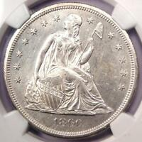 1860-O SEATED LIBERTY SILVER DOLLAR $1 - NGC UNCIRCULATED DETAIL UNC MS.