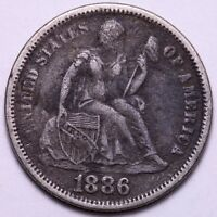 1886 SEATED LIBERTY DIME            R6TM