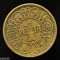 SPAIN 1 PESETA COIN 1944  KM767.  EXACT ITEM PICTURED. 02