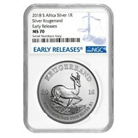 2018 SOUTH AFRICA 1 OZ SILVER KRUGERRAND NGC MS 70 EARLY RELEASES