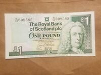 1993 ROYAL BANK OF SCOTLAND 1 POUND SCOTTISH NOTE P 351C  AU ABOUT UNCIRCULATED