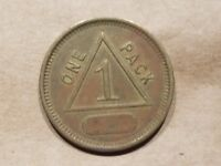 GOOD FOR 1 PACK OF CIGARETTES TOKEN TRADE VINTAGE VENDING MACHINE COIN TRIANGLE