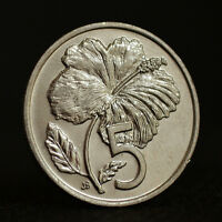 COOK ISLANDS 5 CENTS 1987. KM33. OCEANIA COIN. UNC. PLANTS. FLOWERS.