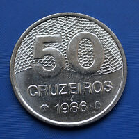 BRAZIL 50 CRUZEIROS COIN. 1981 86. SOUTH AMERICA. 28MM. UNC.