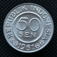 INDONESIA 50 SEN 1961. KM14. ASIA COIN. UNC.