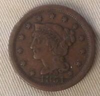 1851 BRAIDED HAIR ONE CENT-VF-UNCERTIFIED