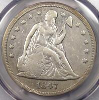 1847 SEATED LIBERTY SILVER DOLLAR $1 - PCGS EXTRA FINE  DETAILS -  CERTIFIED COIN
