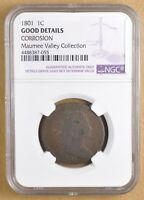 1801 DRAPED BUST LARGE CENT NGC GOOD DETAILS