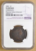 1802 DRAPED BUST LARGE CENT NGC VG DETAILS