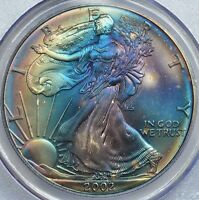 PCGS 2002 MINT STATE 67 ATTRACTIVE MINT CASE TONED SILVER EAGLE. TONING