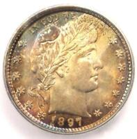 1897 BARBER QUARTER 25C COIN - CERTIFIED ICG MINT STATE 66 BU UNC - $2,890 VALUE