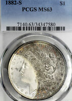 1882-S MINT STATE 63 MORGAN SILVER DOLLAR $1, PCGS GRADED, CRESCENT TONED, FLASHY SEMI-PL