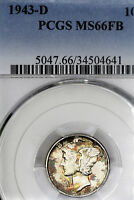 1943-D MINT STATE 66 FB MERCURY DIME 10C, PCGS GRADED FULL BANDS, COLORFULLY TONED