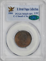 1806 DRAPED BUST 1/2C PCGS MINT STATE 65 BN