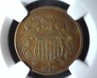 1865 TWO CENT NGC AU DETAILS OBVERSE SCRATCHED 2041810-086