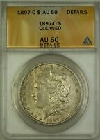1897-O MORGAN SILVER DOLLAR $1 COIN ANACS AU-50 DETAILS CLEANED