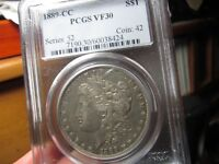 KEY DATED MORGAN 1889 CC PCGS FINE 30  A NICE LOOKING COIN F