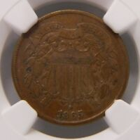 1865 2C TWO CENT PIECE NGC EXTRA FINE  DETAILS