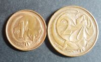 AUSTRALIA 1 AND 2 CENT COINS 1966-1988, TWO COINS