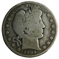 1904 S BARBER HALF DOLLAR   OLD COLLECTIBLE SILVER COIN   LOW MINTAGE