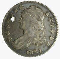 1821 CAPPED BUST HALF DOLLAR VF XF DETAILS HOLED TRUE AUCTION