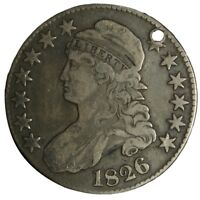1826 CAPPED BUST HALF DOLLAR VF XF DETAILS HOLED TRUE AUCTION
