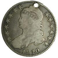 1820/19 CAPPED BUST HALF DOLLAR GREAT DETAILS HOLED TRUE AUCTION