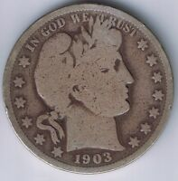 1903 BARBER HALF DOLLAR 90  SILVER 50 CENT COIN 1/2 $1 FIFTY CENT