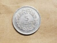 1945 FREE FRANCE 5 FRANCS FRENCH ALUMINUM COIN WORLD WAR TWO WWII WW2 RELIC NICE