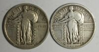 1917 P STANDING LIBERTY QUARTER TYPE I AND TYPE II    LOT OF 2 SILVER COINS
