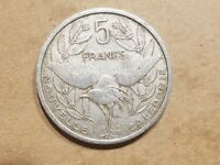 1952 NEW CALEDONIA 5 FRANCS FRENCH COLONIAL TERRITORIAL COIN FRANCE