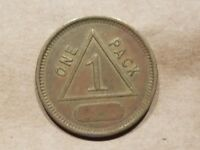 GOOD FOR 1 PACK OF CIGARETTES TOKEN TRADE VINTAGE VENDING MACHINE TRIANGLE