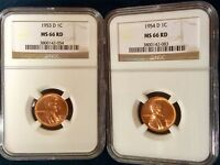 1953-D  &  1954-D LINCOLN CENT TWO-COIN SET  NGC MINT STATE 66 RED