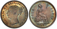 GREAT BRITAIN VICTORIA 1838 AR FOURPENCE GROAT PCGS MS66 SUPERBLY TONED.