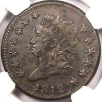 1812 CLASSIC LIBERTY HEAD LARGE CENT 1C - NGC AU DETAILS -  KEY DATE PENNY