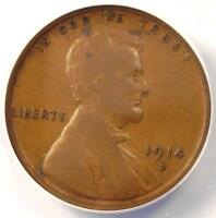 1914-D LINCOLN WHEAT CENT 1C - ANACS F12 DETAILS -  KEY DATE CERTIFIED PENNY