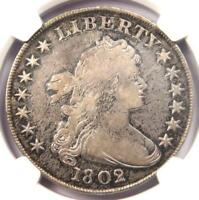 1802/1 DRAPED BUST SILVER DOLLAR $1 COIN - CERTIFIED NGC VF DETAILS -