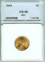 1944 LINCOLN ONE CENT 68MS RED MS