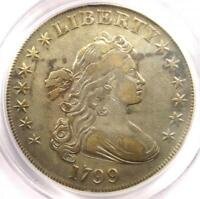 1799 DRAPED BUST SILVER DOLLAR $1 COIN BB-164 - CERTIFIED PCGS VF DETAIL -