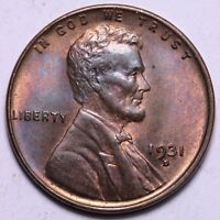 CHOICE BU 1931-D LINCOLN WHEAT CENT PENNY - TOUGHER DATE IN MS    LOT CICI