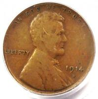 1914-D LINCOLN WHEAT CENT 1C - PCGS F15 -  KEY DATE CERTIFIED PENNY