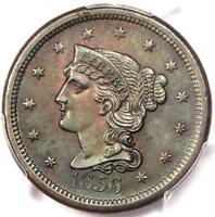 1856 BRAIDED HAIR LARGE CENT 1C - PCGS UNCIRCULATED -  MS BU UNC PENNY