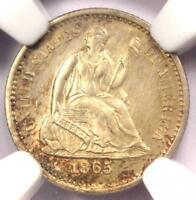 1865-S SEATED LIBERTY HALF DIME H10C COIN - NGC UNCIRCULATED DETAILS UNC MS