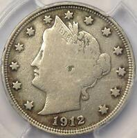1912-S LIBERTY NICKEL 5C - PCGS FINE DETAILS -  KEY DATE CERTIFIED COIN