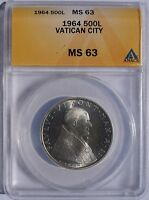 1964 VATICAN CITY 500 LIRE WORLD SILVER COIN - CATHOLIC CHURCH ITALY ANACS MINT STATE 63