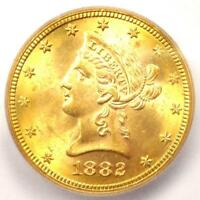 1882 LIBERTY GOLD EAGLE $10 COIN - CERTIFIED ICG MINT STATE 65 -  - $3,500 VALUE