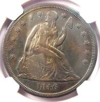 1846-O SEATED LIBERTY SILVER DOLLAR $1 - CERTIFIED NGC AU DETAILS -  COIN