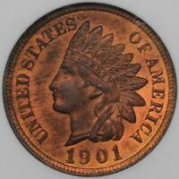 1901 INDIAN HEAD CENT ANACS MINT STATE 64RD S-4 REPUNCHED DATE DOUBLEJCOINS 2003-51